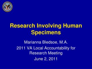 Research Involving Human Specimens