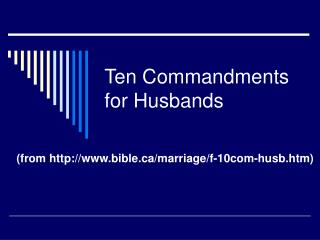 Ten Commandments for Husbands