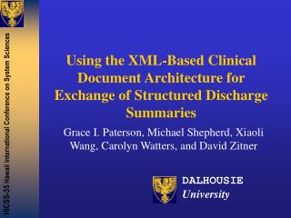 Using the XML-Based Clinical Document Architecture for Exchange of Structured Discharge Summaries