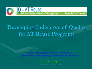 Developing Indicators of Quality for AT Reuse Programs