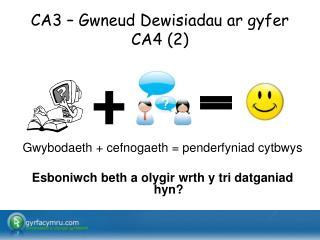 CA3 – Gwneud Dewisiadau ar gyfer CA4 (2)