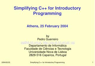 Simplifying C++ for Introductory Programming