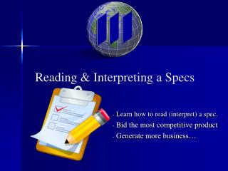 Reading  Interpreting a Specs