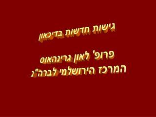 גישות חדשות בדיכאון פרופ' לאון גרינהאוס המרכז הירושלמי לברה