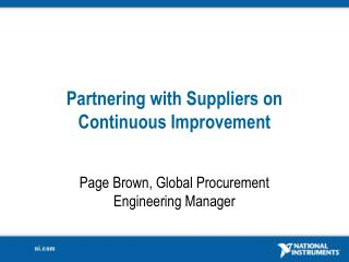 Partnering with Suppliers on Continuous Improvement