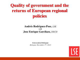 Quality of government and the returns of European regional policies