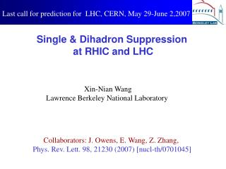 Single & Dihadron Suppression  at RHIC and LHC