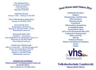 Volkshochschule Lambrecht Telefon 06325 181112
