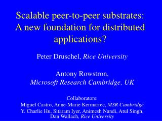 Scalable peer-to-peer substrates: A new foundation for distributed applications?