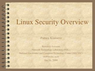 Linux Security Overview
