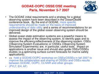 GODAE-OOPC OSSE/OSE meeting  Paris, November 5-7 2007