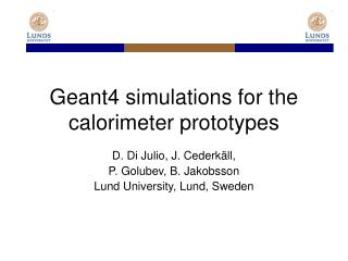 Geant4 simulations for the calorimeter prototypes