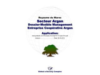 Dossier-Modèle Management Entreprise Coopérative Argan