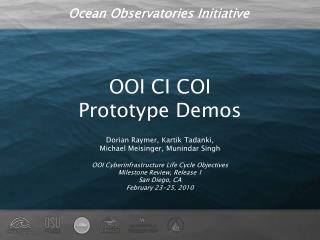 OOI CI COI Prototype Demos