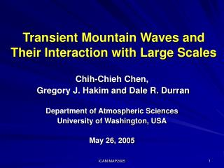 Transient Mountain Waves and Their Interaction with Large Scales