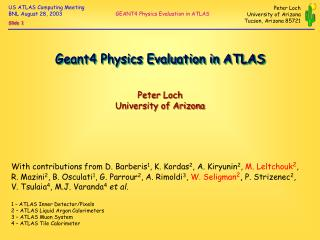 Geant4 Physics Evaluation in ATLAS