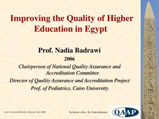Improving the Quality of Higher Education in Egypt