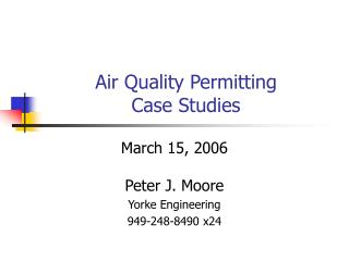 Air Quality Permitting Case Studies
