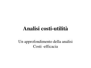 Analisi costi-utilità