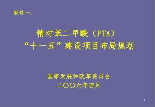 """精对苯二甲酸( PTA ) """" 十一五 """" 建设项目布局规划"""