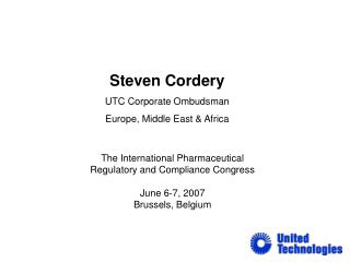 Steven Cordery UTC Corporate Ombudsman Europe, Middle East & Africa