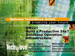 DM221 Build a Productive 24x7 Database Operation Infrastructure