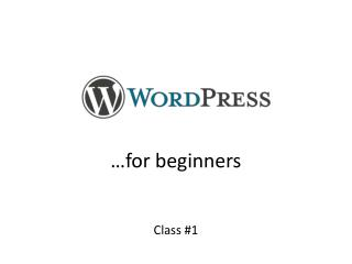 …for beginners