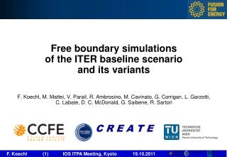 Free boundary simulations of the ITER baseline scenario and its variants