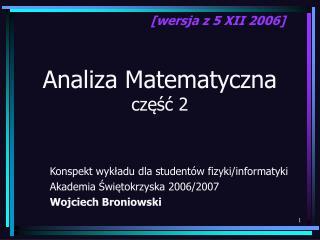 Analiza Matematyczna część 2
