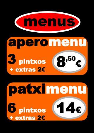 apero menu 3 pintxos + extras  2 €