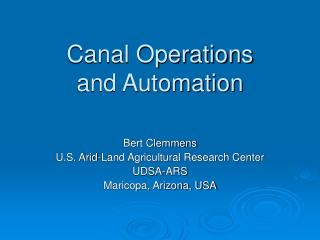 Canal Operations  and Automation