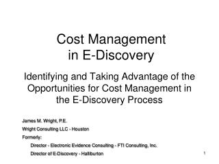 Cost Management  in E-Discovery