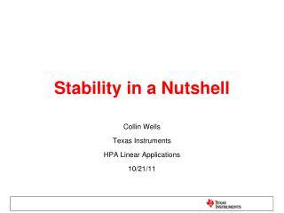 Stability in a Nutshell