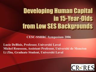 Developing Human Capital in 15-Year-Olds  from Low S E S Backgrounds