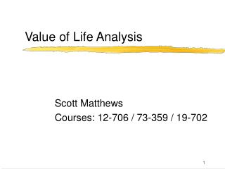 Value of Life Analysis