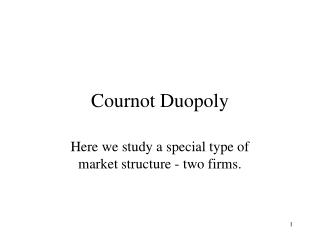 Cournot Duopoly