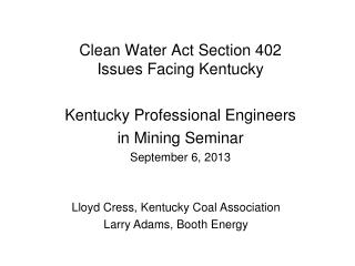 Clean Water Act Section 402 Issues Facing Kentucky
