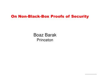 On Non-Black-Box Proofs of Security