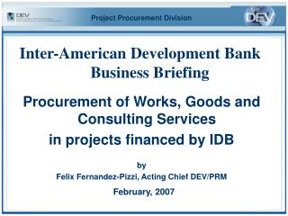 Inter-American Development Bank Business Briefing
