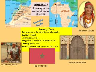 Morocco A country on the northwest corner of Africa