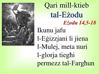 Qari  mill-ktieb  tal-Eżodu Eżodu  14,5-18 Ikunu jafu l- Eġizzjani  li  jiena