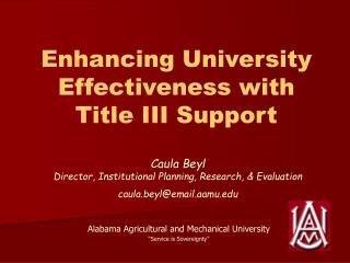 Enhancing University Effectiveness with  Title III Support