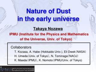 Nature of Dust  in the early universe