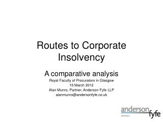 Routes to Corporate Insolvency