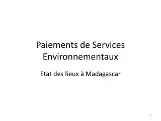 Paiements de Services Environnementaux