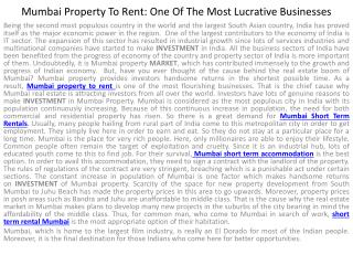 Mumbai Property To Rent: One Of The Most Lucrative Businesse