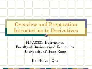 FINA0301  Derivatives Faculty of Business and Economics  University of Hong Kong Dr. Huiyan Qiu