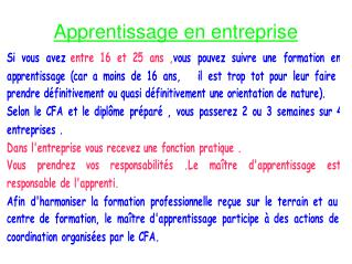 Apprentissage en entreprise