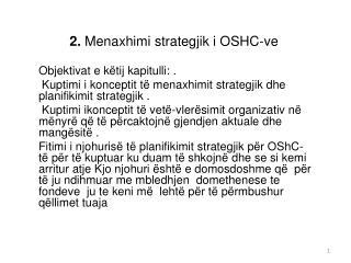 2. Menaxhimi strategjik i OSHC-ve