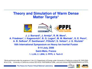 Theory and Simulation of Warm Dense Matter Targets*